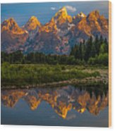 Dramatic Grand Teton Sunrise Wood Print