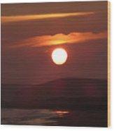 Crimson Ocean Sunset Wood Print
