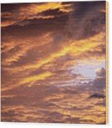 Dramatic Orange Sunset Wood Print