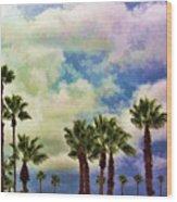 Dramatic Palms Wood Print