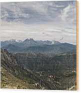 Dramatic Panoramic View Of Snow Capped Mountains Of Northern Cor Wood Print