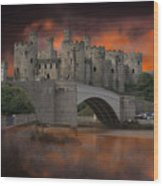 Dramatic Sky Over Castell Conwy Wood Print