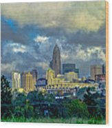 Dramatic Sky With Clouds Over Charlotte Skyline Wood Print