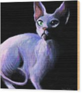 Dramatic Sphynx Cat Print Painting Wood Print