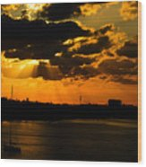 Dramatic Sunrise At Nassau Wood Print