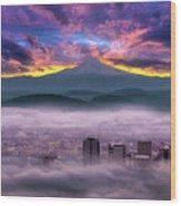 Dramatic Sunrise Over Foggy Downtown Portland Wood Print