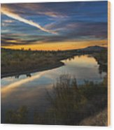 Dramatic Sunset Over Boise River Boise Idaho Wood Print