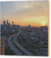 Dramatic Sunset Over Kuala Lumpur City Skyline Wood Print