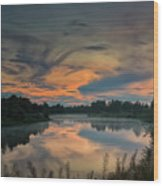 Dramatic Sunset Over The Misty River Wood Print