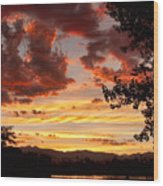 Dramatic Sunset Reflection Wood Print