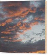 Dramatic Sunset Sky With Orange Cloud Colors Wood Print