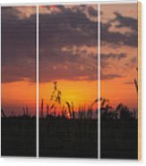 Dramatic Sunset Triptych Wood Print