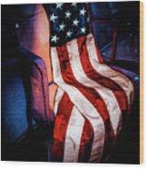 Draped American Flag Wood Print