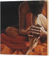 Draped In Orange Wood Print