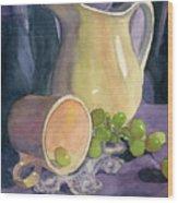 Drapes And Grapes Wood Print