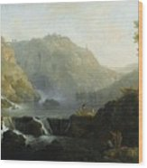 Draughtsmen In Front Of A Waterfall Wood Print