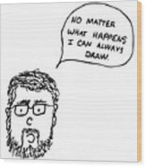 Drawing Comic Wood Print