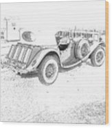 Drawing The Antique Car Wood Print