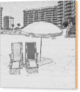 Drawing The Beach Chairs Wood Print