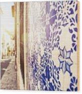 Drawing Tiles On Bairro Alto Walls In Lisbon Wood Print