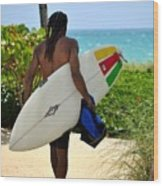 Dreadlocks Surfer Dude Wood Print