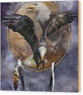 Dream Catcher - Spirit Eagle 3 Wood Print