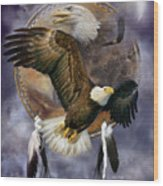 Dream Catcher - Spirit Eagle Wood Print