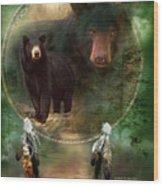 Dream Catcher - Spirit Of The Black Bear Wood Print