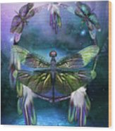 Dream Catcher - Spirit Of The Dragonfly Wood Print