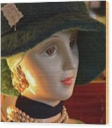 Dream Girl With Hat And Pearls Wood Print