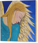 Dreaming Angel Wood Print by Jacqueline Lovesey
