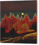 Dreaming Tree Moon Wood Print