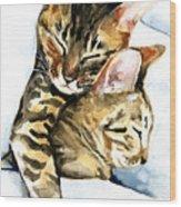 Dreamland - Bengal And Savannah Cat Painting Wood Print