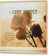 Dreams In Roses - Vintage - Verse Wood Print