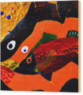 Dreamtime Barramundi Detail Wood Print by Sarah King
