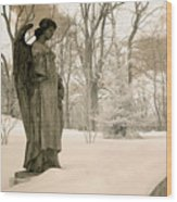 Dreamy Angel Monument Surreal Sepia Nature Wood Print
