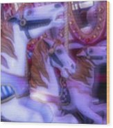 Dreamy Carrousel  Horses Wood Print