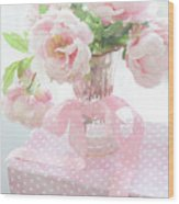 Dreamy Shabby Chic Cottage Pink Peonies In Vase - Romantic Pink Peonies Floral Bouquet Wood Print