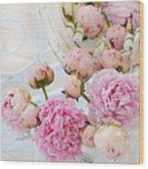 Dreamy Shabby Chic Romantic Peonies - Garden Peonies White Mason Jars Wood Print