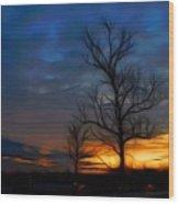 Dreamy Sunset Wood Print by Ella Char