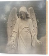 Dreamy Surreal Angel Art Fog Cemetery Wood Print