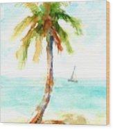 Dreamy Tropical Beach Palm Wood Print