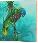 Drenched - St. Lucia Parrot Wood Print