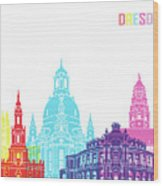 Dresden Skyline Pop Wood Print