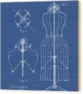 Dress Form Patent 1891 Blueprint Wood Print