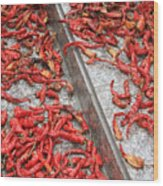 Dried Chili Peppers Wood Print
