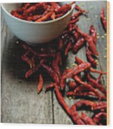 Dried Chilies In White Bowl Wood Print