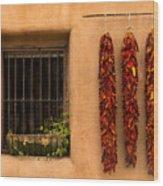 Dried Chilis And Window Wood Print