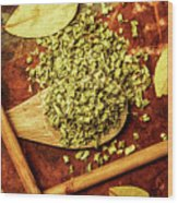 Dried Chives In Wooden Spoon Wood Print