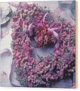 Dried Flower Heart Wreath Wood Print